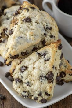 These easy chocolate chip scones are the British version of a biscuit, making them slightly sweet and buttery with a crumbly edge. Baking Recipes, Dessert Recipes, Scone Recipes, Breakfast Recipes, Publix Breakfast Bread Recipe, Breakfast Scones, Breakfast Platter, Breakfast Bites, Potato Recipes