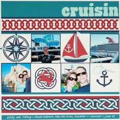 "Rhinestones and Ribbon: Lifestyle Crafts Maritime Release & ""Cruisin"" Layout Scrapbook Travel Album, Cruise Scrapbook Pages, Beach Scrapbook Layouts, Vacation Scrapbook, Scrapbook Titles, Scrapbook Sketches, Scrapbook Paper Crafts, Scrapbooking Layouts, Cruise Pictures"