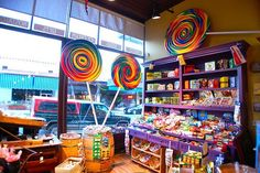 Old-Fashioned Candy Store Displays | designs for candy shop | Fun lollipops welcomed you inside the store!