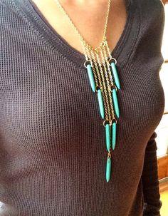 Turquoise Fringe Statement Necklace Spike Dagger by JewelrybyRJ, $27.99