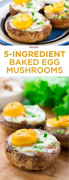 These 5-Ingredient Baked Egg Mushrooms pack a massive flavor punch! Only 122 Calories & 4 SmartPoints. #skinnyms