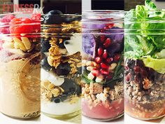 Great ideas for portable, make ahead meals! Plus, a fun way to use my canning jars.