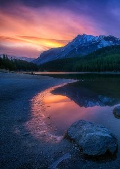 """coiour-my-world: """" Morning at Two Jack Lake by Carl Pan on Fivehundredpx Banff, Alberta, Canada """" Amazing Photography, Landscape Photography, Nature Photography, Digital Photography, Banff National Park, National Parks, Places Around The World, Around The Worlds, Sunset Background"""