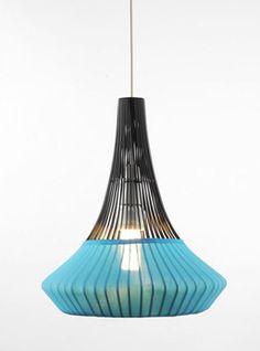 mid century turquoise hanging light
