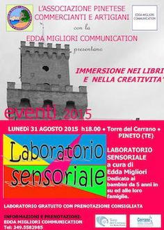 Laboratorio Sensoriale: il nuovo evento del cartellone Immersione nei libri e nella creatività è in programma lunedì 31 agosto