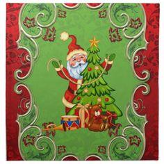 Re-usable cloth napkins, cartoon Santa decorating a Christmas tree
