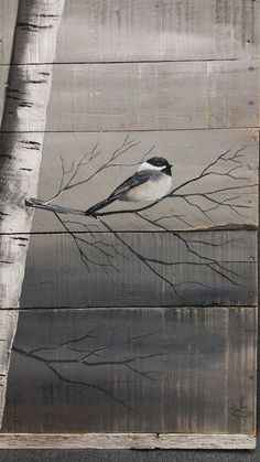 Pallet Wall Art White Birch Painting, Distressed Reclaimed wood, Hand painted, handmade, wall decor, chickadee Bird, Rustic & Shabby Chic  Dimensions are approx. 40 tall and 30 wide  This is a picture of the original painting on reclaimed pallet wood. This unique, large piece is made of reclaimed pallet wood, painted a medium grey, and slightly aged. Using acrylic paints, I hand painted the birch trunks, and a chickadee. The top and bottom is accented with a strips of aged, white painted…