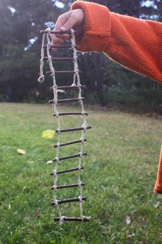 Fairy Garden: Rope Ladder. Crystal & I put one up once in our garden. It lasted a few years and was cute.