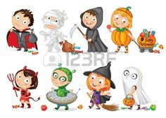Happy Halloween, Funny little children in colorful costumes