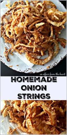 Homemade Onion Strings Thin, crispy, perfectly seasoned onion strings, made right in your kitchen. Great for toppings (if they last that long! Onion Strings, Blooming Onion, Crispy Onions, Tasty, Yummy Food, Onion Recipes, Side Dish Recipes, Side Dishes, Snacks