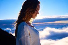 Hermosa, Nubes, Niña, Montaña, Al Aire Libre, Persona