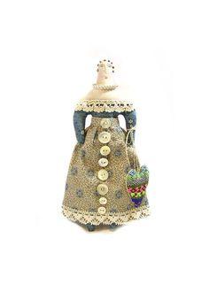 Primitive Folk Art Doll with a Handwoven Heart