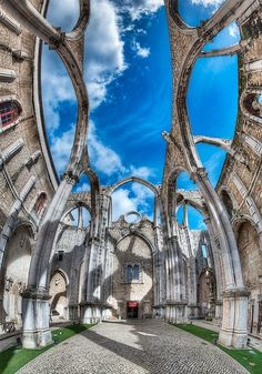 Carmo Convent, Lisbon - Portugal | Founded in 1389, the convent was ruined in the 1755 Lisbon earthquake.  The Carmo Church is now used as an archaeological museum.