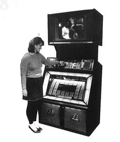 1984, Rowe-AMI's Model R-88 V/MEC Sapphire 8: Each system was loaded with a 3-hour Betamax tape with 40 music videos on it. [Jukebox Collector]