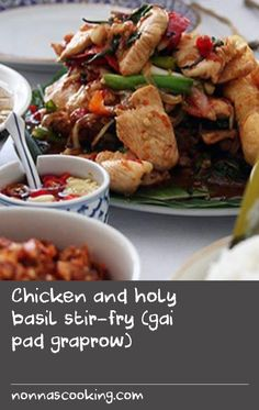 Chicken and holy basil stir-fry (gai pad graprow) Basil Fish Recipe, Chicken Basil Recipes, Fried Chicken Recipes, Basil Chicken, Egg Recipes For Breakfast, Delicious Breakfast Recipes, Breakfast Dishes, Mince Recipes, Pork Recipes