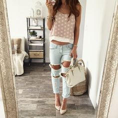 ripped jeans & rumi layered tank  #weekends in #ohmstyle || snag the look…