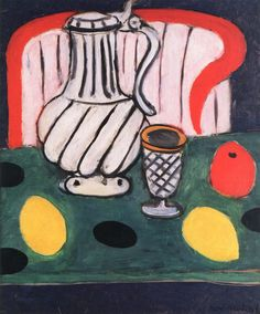 dappledwithshadow:  Tin Pitcher, Lemon and Armchair Henri Matisse- 1939