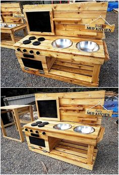 DIY Projekte Fantastic DIY projects with old shipping wood pallets, Outdoor Play Kitchen, Diy Mud Kitchen, Mud Kitchen For Kids, Diy Kitchen Cabinets, Rustic Kitchen, Recycled Furniture, Pallet Furniture, Diy Pallet Projects, Wood Projects
