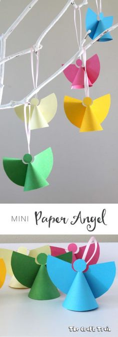 Mini paper angel ornaments, a simple Christmas craft for kids with free printable template