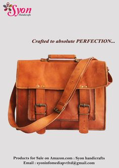 Handmade goat leather bag for you!! One front large pocket leather laptop / messenger bag.