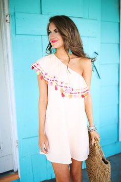 one shoulder tassel dress