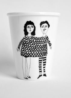 Happy Together - porcelain cup with handmade illustration