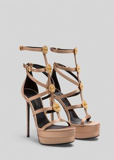 Medusa Cage Sandals from Versace Women's Collection. Crafted in elegant satin, these platform sandals are embellished with heritage cage straps and crystal-enriched Medusa hardware. Caged Shoes, Caged Sandals, Women's Shoes Sandals, Dream Shoes, New Shoes, Neutral Sandals, Versace Shoes, Curvy Girl Fashion, Medusa