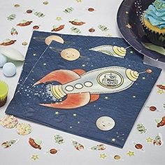 Ginger Ray Spaceship & Robot Paper Kids Party Napkins - Space Adventure Party