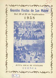 """San Mateo 1958 Programa de las Fiestas de San Mateo 1958 del 19 al 21 de septiembre El día 20 a las 11 h. de la mañana se celebra una """"Carrera de Camareros"""""""