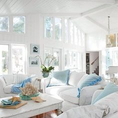 Vintage Cottage + Coastal + Beach + Shabby Living Room with Sea Shell + Orchids in White and Pale Blue..LOVE IT