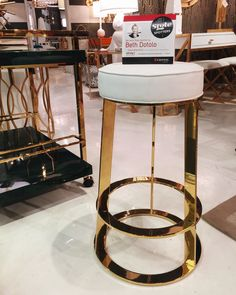 Spotted! @bethdotolo's #hpmkt Style Spot... We love this brass & leather barstool by @worldsaway1! So chic. #hpmktSS #hpmktcoveredincryptonhome