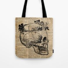 Skull in Floral Wreath Ink Drawing Dictionary Art Tote Bag