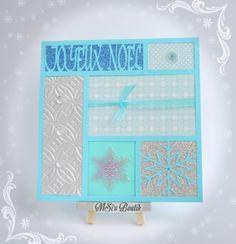 Carte de Voeux Joyeux Noël puzzle tons bleu et argent découpage à la silhouette portrait. Christmas Card by MSi's Boutik.