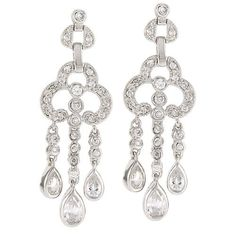 Sterling Silver Cubic Zirconia CZ Three Drop Earrings from Berricle - Price: $53.99