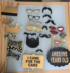 Props For A Party! Home Made!! Sweet 16 photo booth props, Black and gold teenage birthday party selfie station photo props
