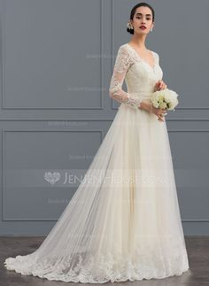 Ball-Gown V-neck Sweep Train Tulle Wedding Dress (002124280) - JenJenHouse