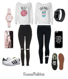 """""""Twins"""" by karen-robles-1 ❤ liked on Polyvore featuring Topshop, adidas, adidas Originals, Vans, Casetify and Emporio Armani"""