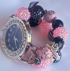 Pink and Black Beaded Watch Band and Face  Chunky  by BeadsnTime, $30.00