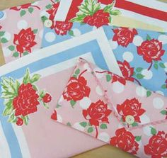 Shabby Retro Cottage Kitchen Towels Pink Blue ROSES & Dots