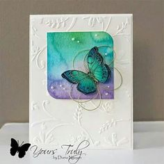 Hero arts butterfly, dry embossing and watercolor Papillon Butterfly, Butterfly Cards, Making Greeting Cards, Greeting Cards Handmade, Watercolor Cards, Butterfly Watercolor, Watercolour, Scrapbook Cards, Scrapbooking