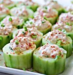 want to try this with spicy tuna :: party finger food :: Cucumber Cups Stuffed with Spicy Crab
