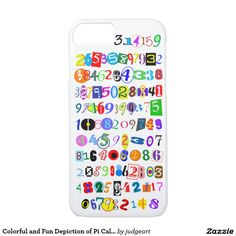 Colorful and Fun Depiction of Pi Calculated iPhone SE/5/5s Case. Colorful and fun depiction of Pi calculated to more than one-hundred decimal places. Each digit has its own unique font and style. Great for math lovers. Great for Pi Day.