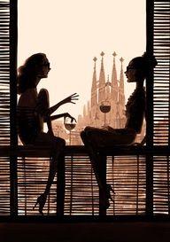 """Barcelona"" BY Jordi Labanda. ""Illustration by Jordi Labanda, with Gaudí's Sagrada Familia in the background, Barcelona. Poster Print, New Poster, Art Du Vin, Barcelona, Illustration Mode, Friends Illustration, Wine Art, Art Plastique, Illustrators"