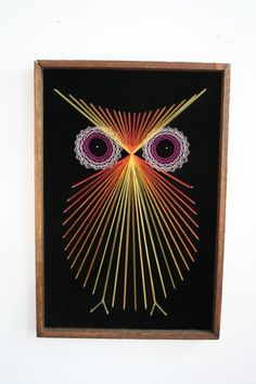 Black velvet and string art owl