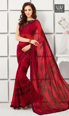 Exclusive Red Color Georgette Party Wear Saree Exclusive Red Color Georgette Printed Saree with Geometric Pattern and Paisley Print pallu along with Lace Border Worker.