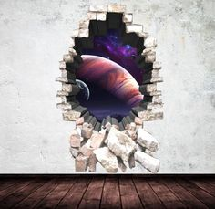 Items similar to Deep Space Planets Wall Art Decal Sticker Mural Graphic Print on Etsy Childrens Wall Decals, 3d Wall Decals, Removable Wall Stickers, Mural Wall Art, Framed Wall Art, Cracked Wall, Space Planets, Deep Space, Textured Walls