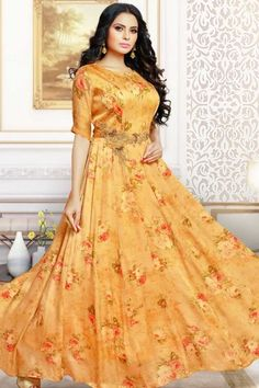 Shop Newarrival Latest Designer Glorious Satin and silk Anarkali gown in Hony orange Color with Resham Embroidered - for women online Long Gown Dress, Lehnga Dress, Anarkali Gown, Abaya Style, Designer Evening Gowns, Designer Gowns, Salwar Kameez, Gown Dress Design, Buy Gowns Online