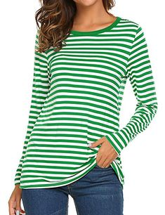 Whether you want to wear a head-to-toe festive look for St. Patrick's Day or just want to throw in one or two cute green elements, we've got great options for your March 17 outfit. St Patrick's Day Outfit, Outfit Of The Day, Striped Top Outfit, Happy Hour, Long Sleeve Tee Shirts, Tops For Leggings, Branded T Shirts, Tunic Tops, Outfits