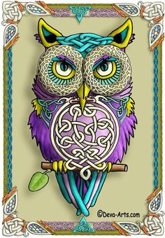 Art owl with Celtic & Deco look - purple & teal
