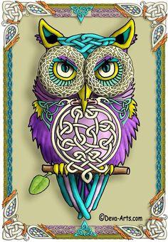 Art owl with Celtic & Deco look - purple & teal